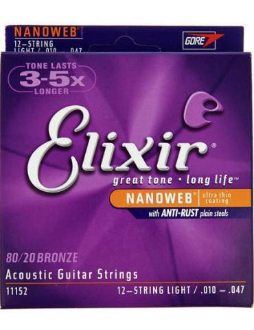 Jeux cordes Guitare accoustique Elixir 11152 NANOWEB BRONZE Light - 12 cordes