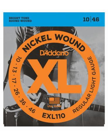 Jeux cordes Guitare Electrique D'Addario XL Light 10-46 - EXL110 (x10 jeux)
