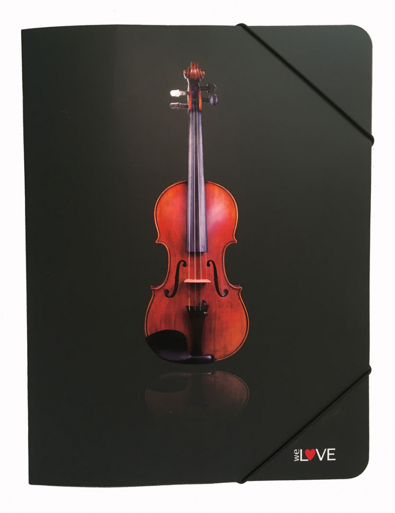 Pochette porte-partitions cartonnée Noire Violon élastique